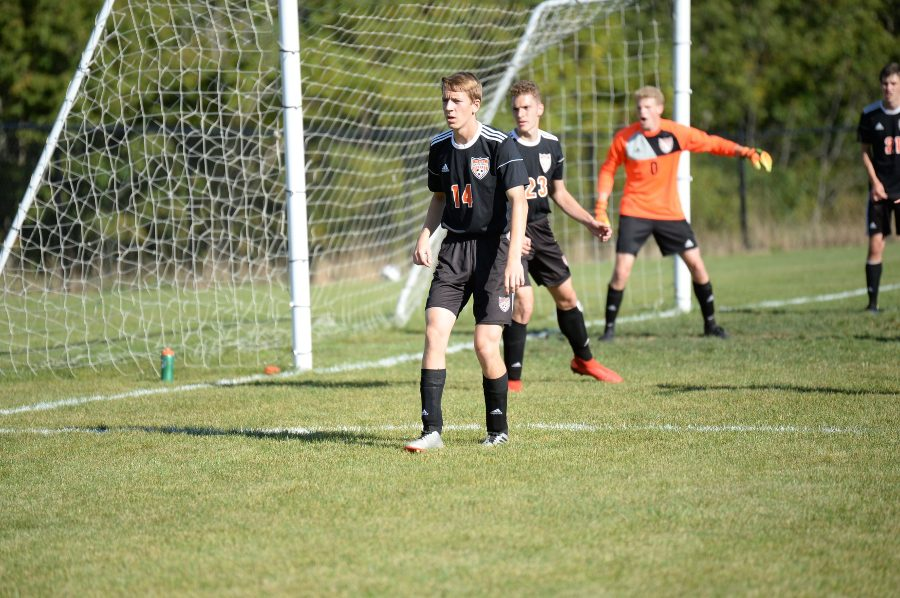 defender Brendan Andrews and the Tyrone/B-A soccer team held undefeated Huntingdon scoreless yesterday.