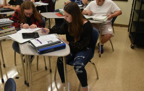 Students like sophomore Ashlynn Ball now have to wear leggings under jeans when they have holes, no matter where on the jeans the holes may be.