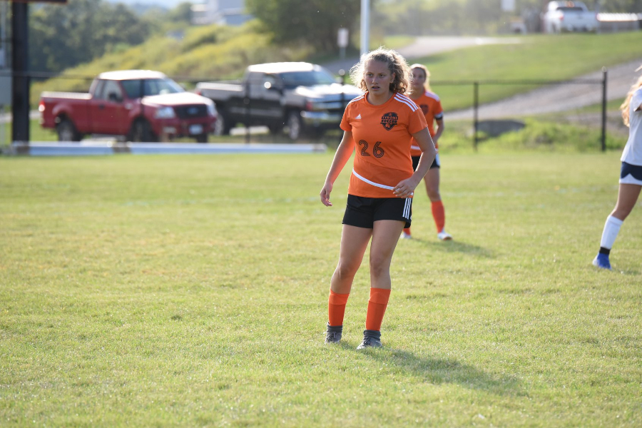 Jaylee Shuke looks to make a play for the soccer team.