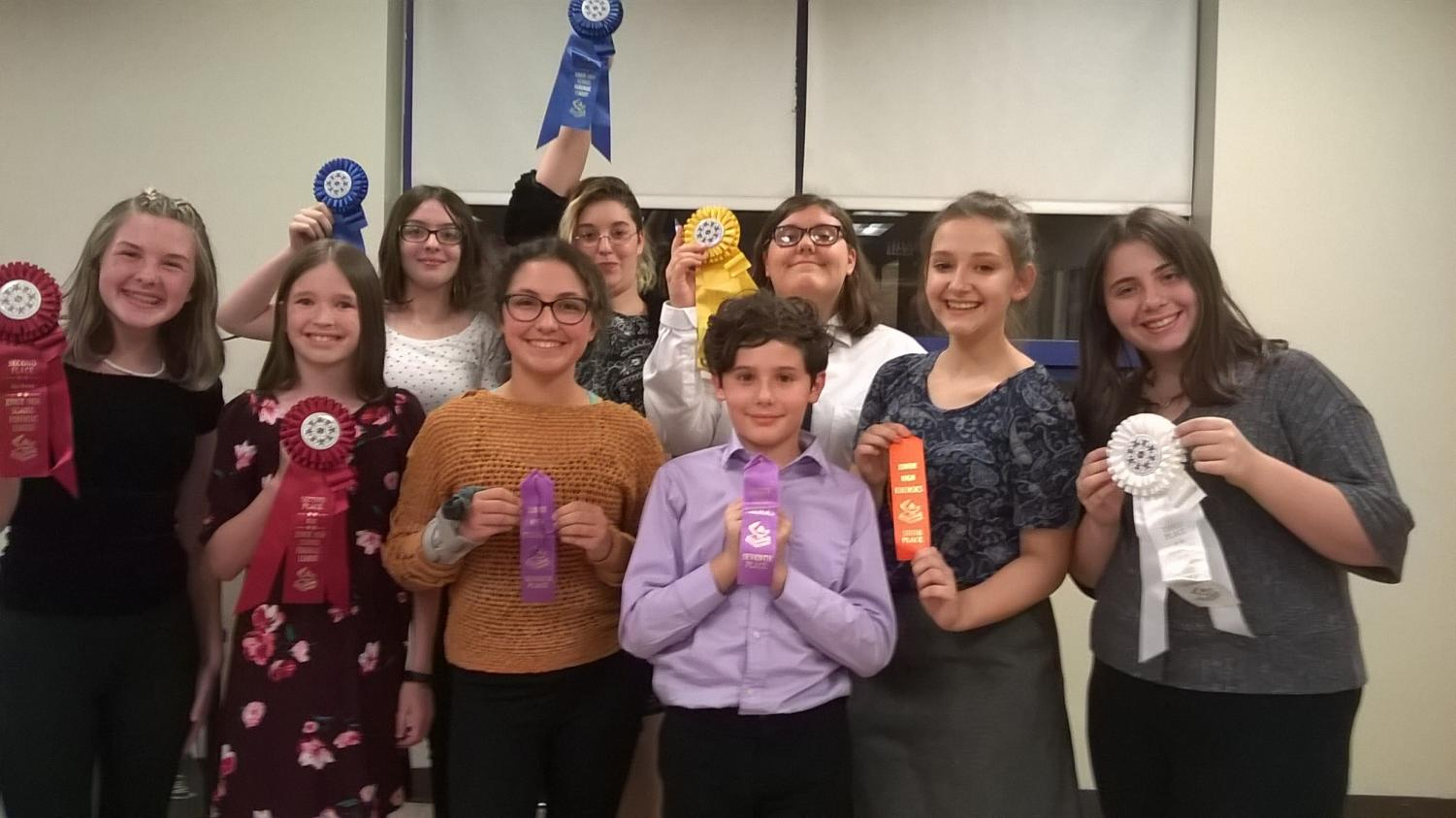 Junior high speech team members include, Front Row (l to r):  Trinity Riva, Emily Zacker, Trinity Maines, Derek Stivers, Halee Young, Jocelyn McGuire; Back Row:   Kate Wallace, Amber Chappell, Abi Eckenrod.