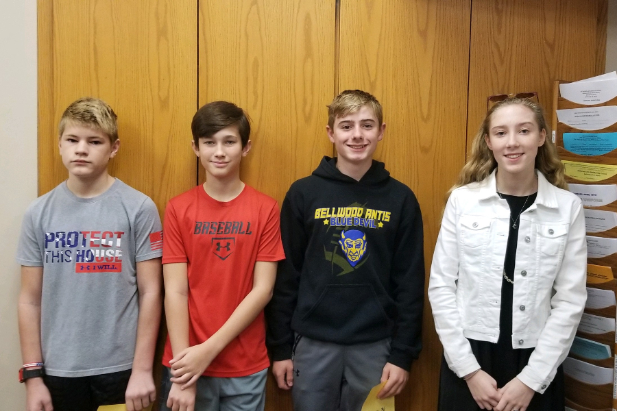 This week's Middle School Students of the Week are: (L to r) Jayden Garman, Martin Fatzinger, Griffin Kyle, and Reagan Boyers.