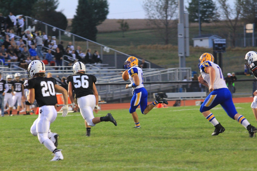 Trevor Miller scrambles to pass against Northern Bedford.