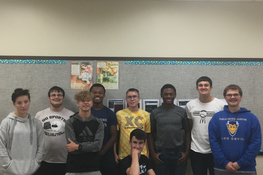 Scholastic scrimmage team members include (l to r): Emma Corrado, Philip Chamberlin, Kenny Robison, Alex Taylor, John Sloey (kneeling) Caedon Poe, Aiden Taylor, Jack Luensmann, and Zach Amato.