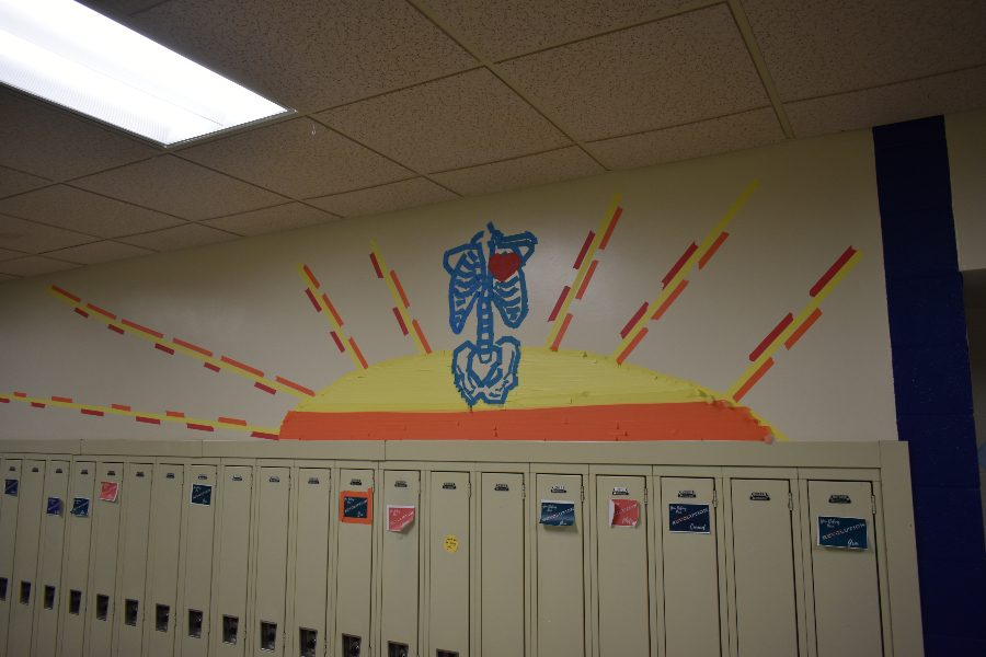 Mrs. McNaul and her art students have transformed the halls of B-A with tape art displays in the hallways.