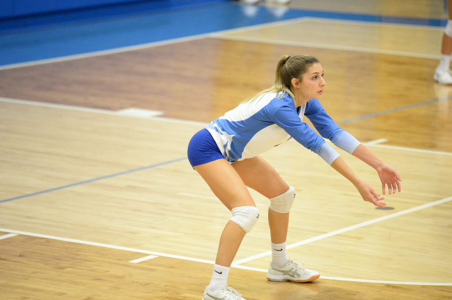 Sicily Yingling prepares to dig a shot in this file photo from earlier this season. Yingling and the Lady Devils had their season ended last night in the quarterfinals with a loss to Central Cambria.