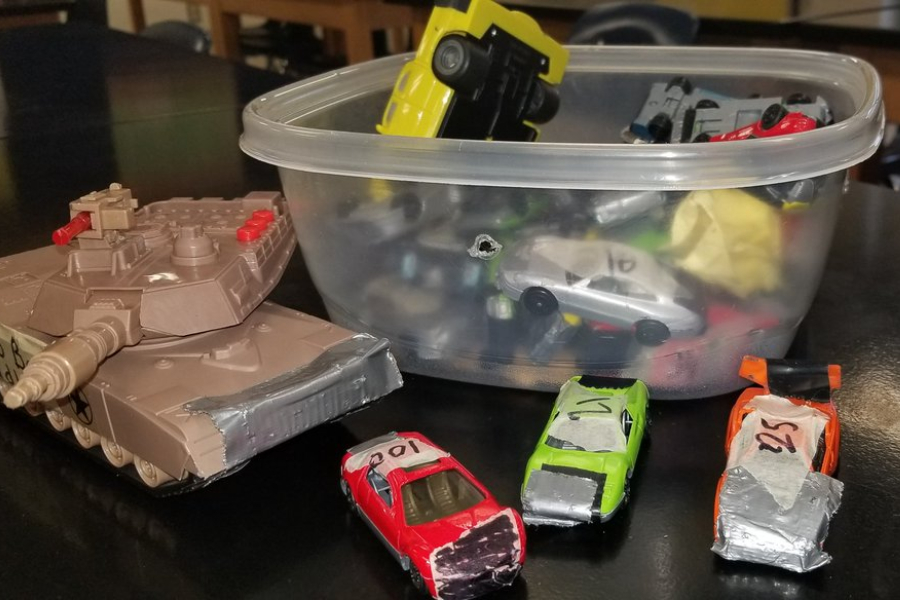 Mr. Goodman recently taught his class some scientific principles using a friendly game of box car demolition derby.