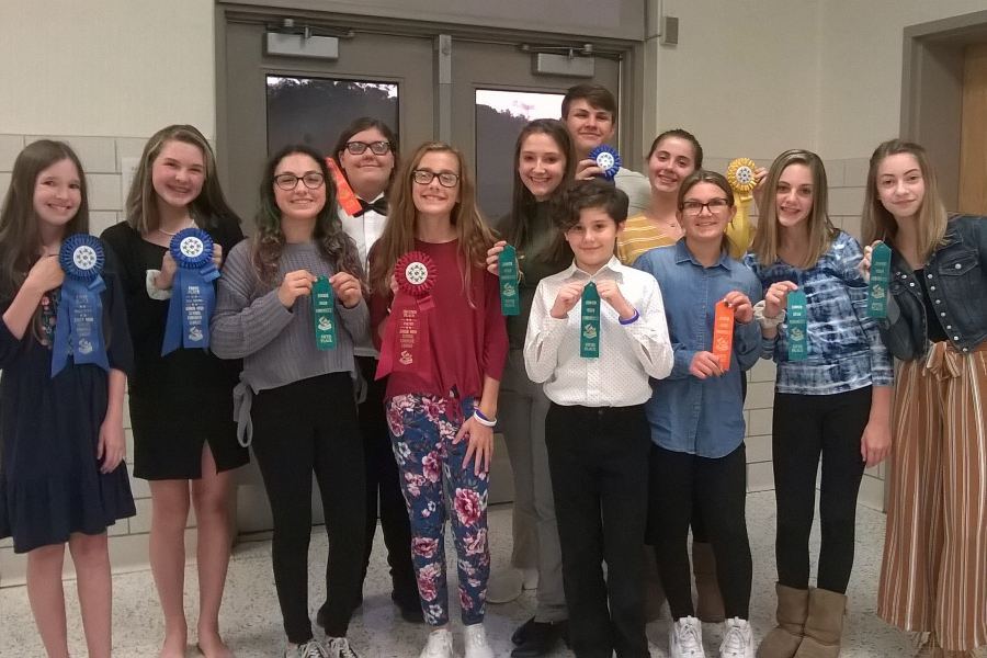 The junior high speech team had 10 ribbon-winners at a meet last week in Somerset.