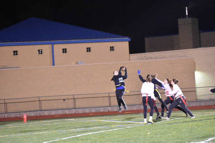 Dakota Woomer makes the game-winning catch in overtime of the annual Powder Puff game.