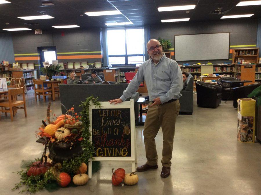 Mr. Trexler enjoys decorating the media center for each holiday.