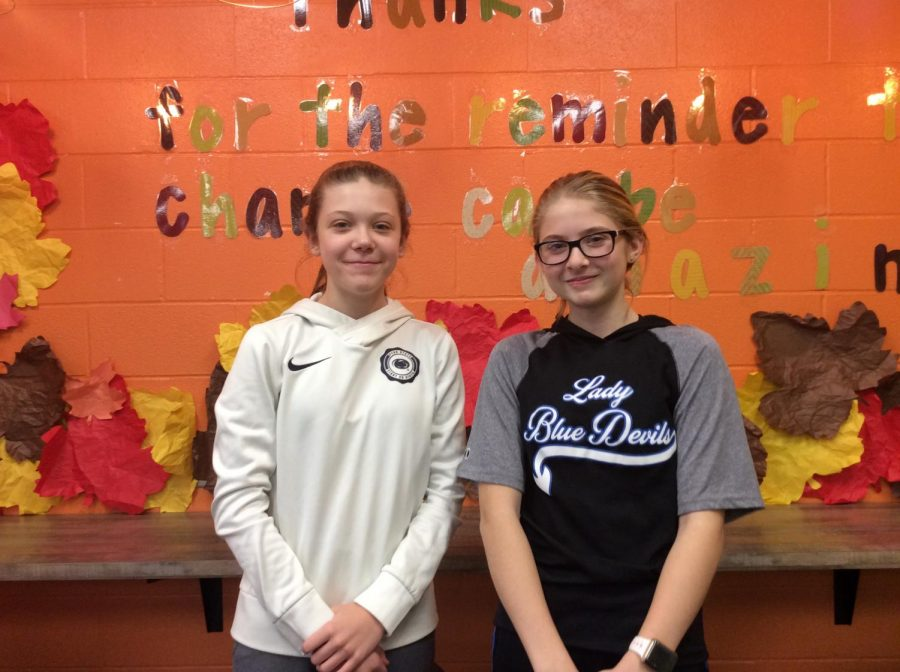Hannah (pictured left) won the Thanksgiving trivia game 4-2 against Chloe.