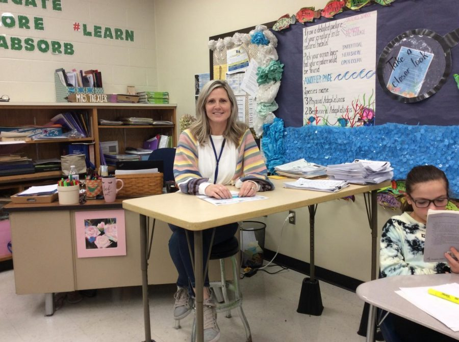 Mrs. Trexler hanging out in her sixth grade classroom.