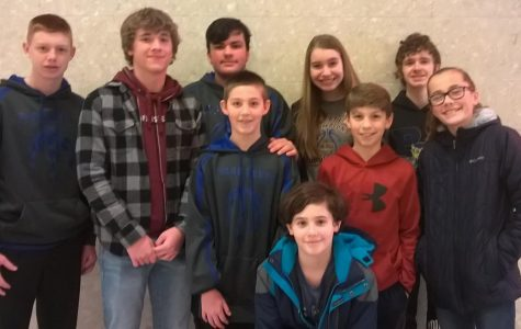 The Jr. High Scholastic Scrimmage team went undefeated in their first match of the year. (Missing from photo: Seth Hollen.)