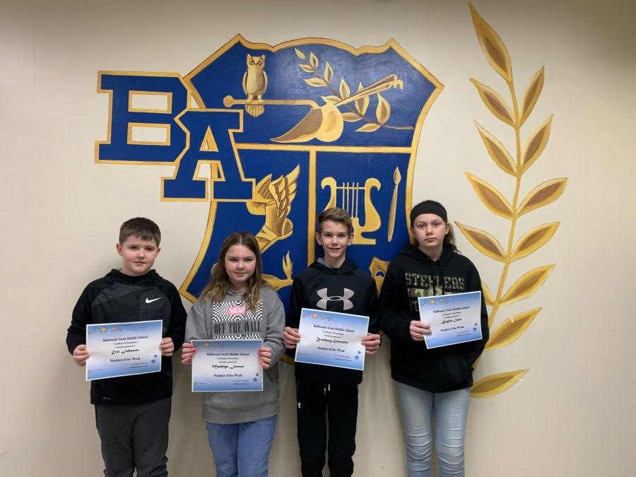 This week's BAMS Students of the Week are: (L to R) Eric Johnson, Maddie Larson, Zachary Gonzalez & Kaylee Isett.