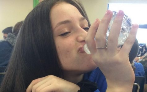Eighth grader Mackenzie Weber makes a healthy decision to stay hydrated.