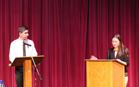 Jake MIller and Tina Hollen battle it out at the 2018 CHS debates at B-A. The debates will be live streamed this year.