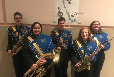 (Left to right) Liam Maule, Madison Cassidy, Jacob Bowser, Kaelyn Toland, and Abi Eckenrode performed recently at Junior High County Band.
