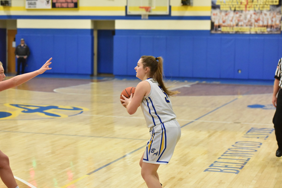 Senior Macy Decker hit four threes in a win over Williamsburg..