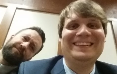 Mr. Elder and Mr. McNaul celebrate the Mock Trial team's win with a selfie.
