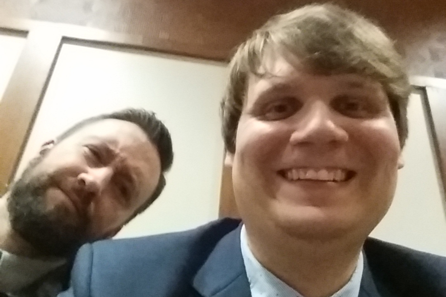 Mr.+Elder+and+Mr.+McNaul+celebrate+the+Mock+Trial+team%27s+win+with+a+selfie.