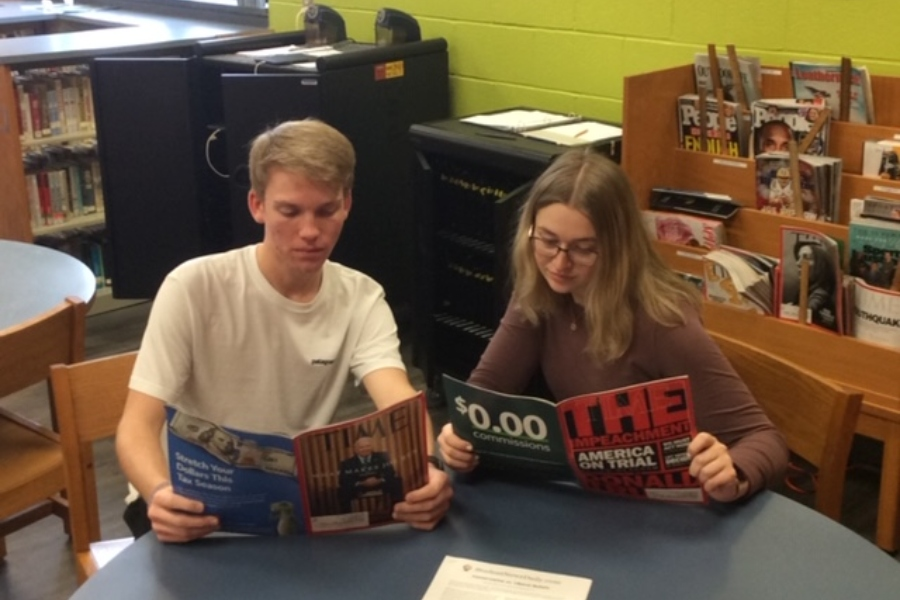 B-A seniors Corbin Nale and Casi Shade read up on President Trump in preparation of the November elections.