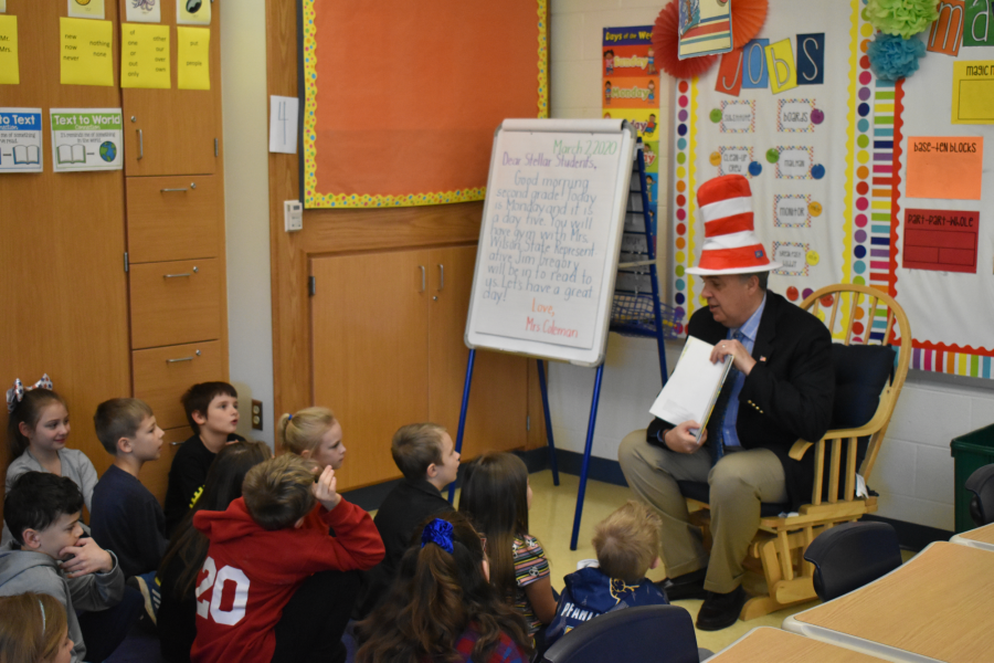 State+Representative+Jim+Gregory+on+Dr.+Seuss+day+reading+to+Myers+Students.