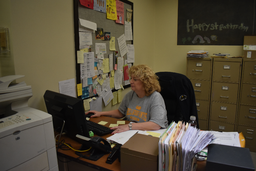 Nurse Kelly Hoover has a heavy workload, responsible for all students in grade 5-12.