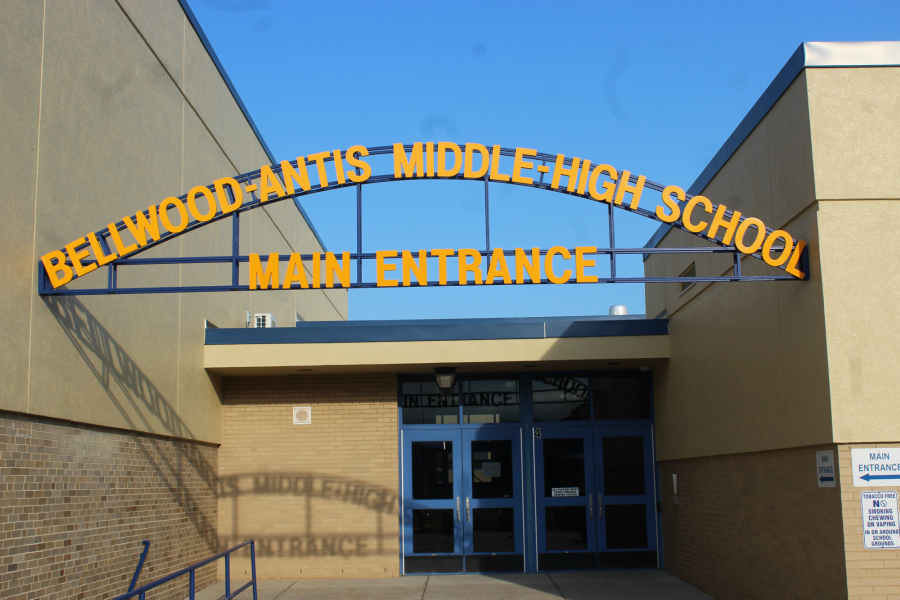 B-A installed a new sign marking the main entrance to the high school building on Tuesday.