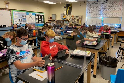 Science classrooms at B-A can become very cramped, especially when students are working on hands-on activities.