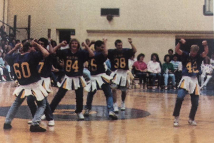 Pep+rallies+were+a+big+part+of+the+school+experience+at+B-A+in+the+1980s