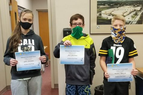 This week's BAMS Students of the Week are: (L to R) Chloe Stoltzfus, Ned Smearman & Maddox McCall. Missing from photo: Emily Zacker.