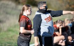 B-A's Allison Partner gets direction from Coach Mike Sparacino.
