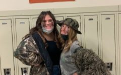 Kami O'Shell and Haley Campbell show off their camo to kick off Spirit Week.