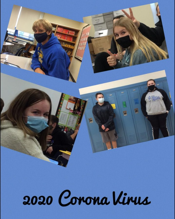 Eighth grade students in Mr. Moyer's homeroom showing off their face masks during the 2020 pandemic.