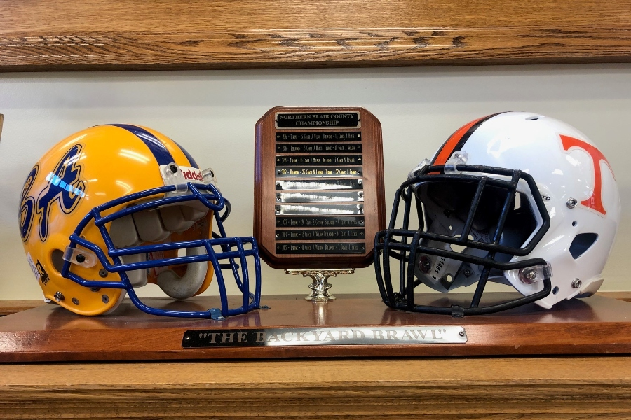 The Backyard Brawl trophy has been kept at Bellwood-Antis for a year. Tyrone and B-A will do battle for the trophy once more this Friday.