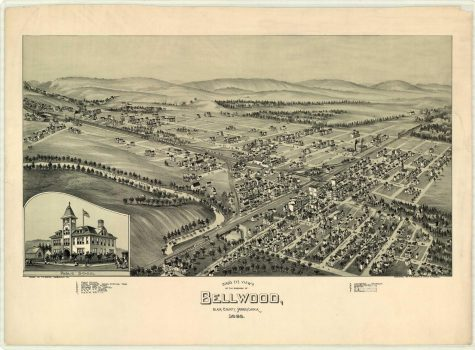 T.M. Fowler drew sketches of towns all across Pennsylvania in the late 1800s, including Bellwood.