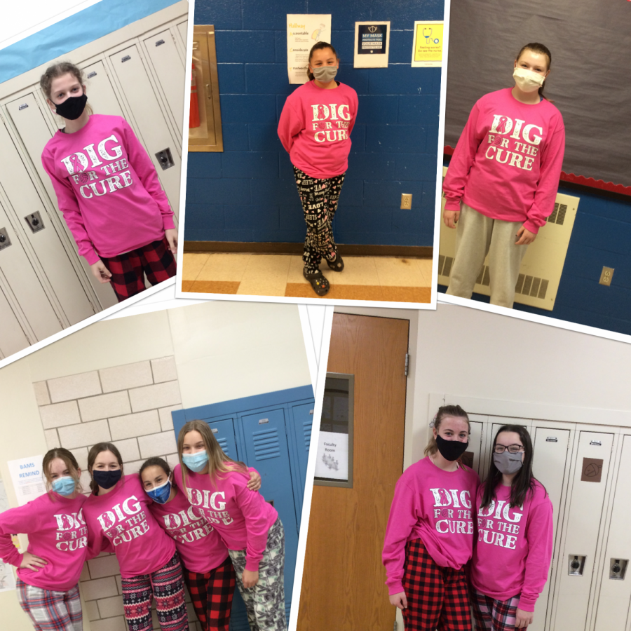 Members of the junior high girls volleyball team wear their Breast Cancer Awareness shirts to their last game against Tyrone.