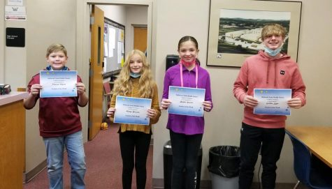 This week's BAMS Students of the Week are: (L to R) Tristan Mock, Maya Powers, Brylee Hewitt & Griffin Kyle.