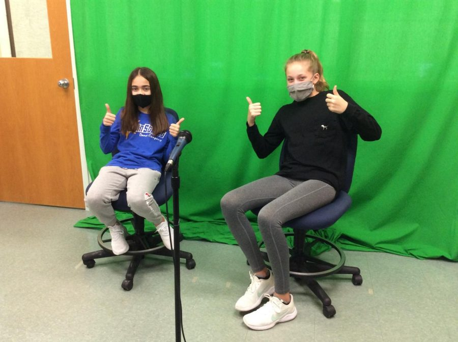 Tech Club students prepare for the morning announcements program.