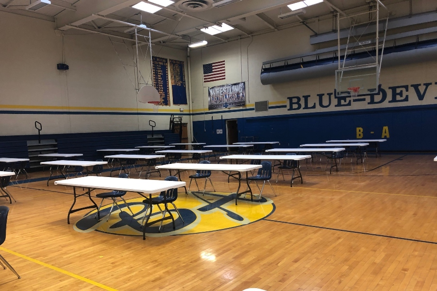 The+Bellwood-Antis+Middle+School+gym+is+prepared+to+keep+students+socially+distanced+this+weekend+during+the+SATs.