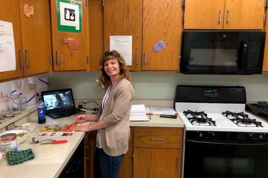 Ms. Harris has been working to teach kids how to cook through remote learning.