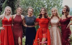 Seniors Raven Criscitello, Lauren Heisler, Caroline Nagle, Malia Danish, Haley Campbell, and Caitlyn McCartney pose outside of Bee Z Acres before prom last summer. COVID-19 restrictions limiting large gatherings of students could result in another prom event unsanctioned by Bellwood-Antis this year.