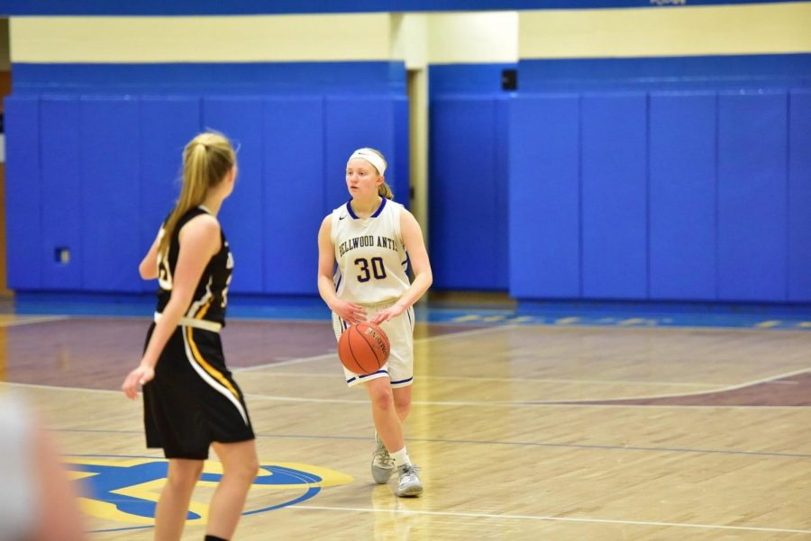 Chelsea McCaulsky works the ball down the floor.