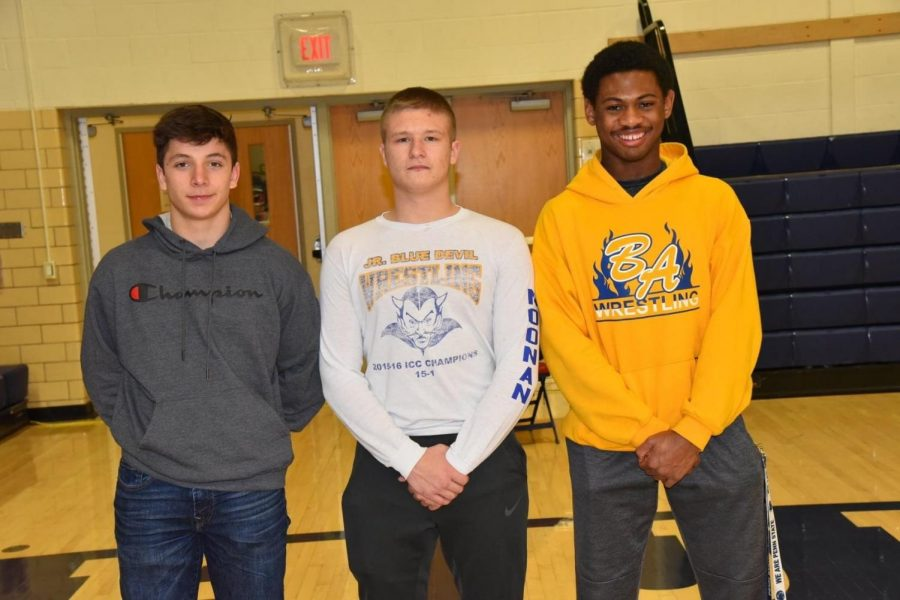 Bellwood-Antis sent three wrestlers from sectionals to the District 6 2A championships: (l to r) Xander Shank, Ty Noonan, and Aiden Taylor.