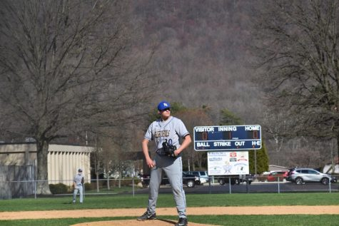 Jack Luensmann pitched six strong innings against Mount Union.