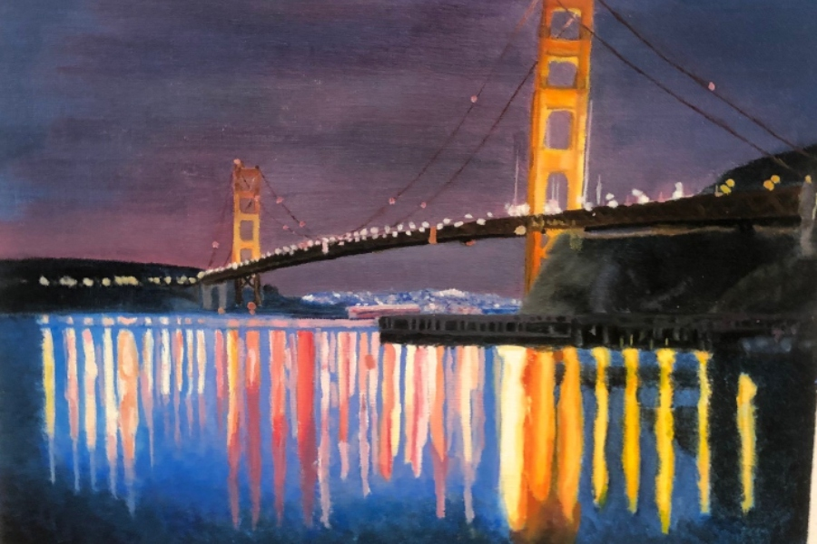 Emily Martin's painting of the Golden Gate Bridge at night lights up the halls at BA.