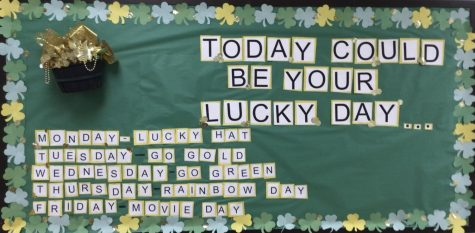 The bulletin board located in the middle school hallway decorated for St. Patrick's Day.