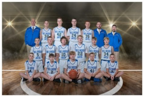 The junior high boys basketball team finished the season with a 17-2 record.