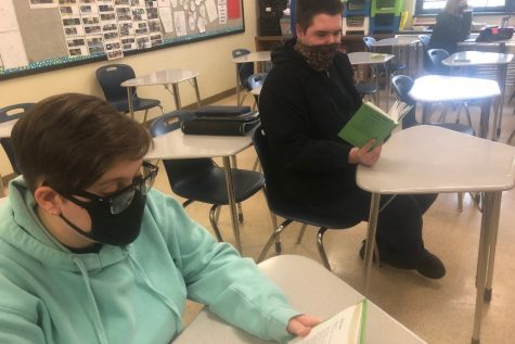 Abi Eckenrod and Gabe Waltermire are two of the ninth grade students reading Romeo and Juliet this semester.