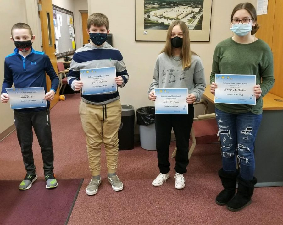 BAMS Students of the Week from March 1-5 are: (L to R) Brady Crist, Eric Johnson, Hailey Loupe & Kaitlyn Brallier.