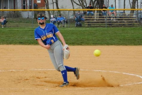 Attie Poorman fires to home plate against Moshannon Valley.